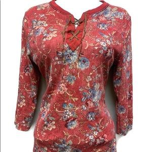 Ralph Lauren red floral long sleeve peasant top
